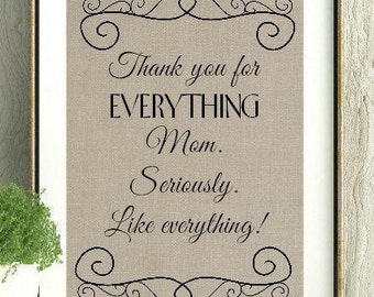 Mothers Day Gift, Thank You Mom, Mothers Day, Mom Quote, Mothers Day Quote, Thank You Mother, Mother Print, Mother Decor,Gift For Mother