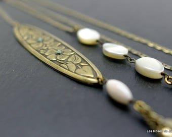 Long necklace, art deco necklace, Pearl, semi precious stones, wedding