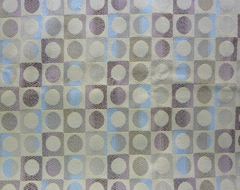 "Neutral Circles in Squares Home Dec Fabric Brown, Tan, Blue.  54"" wide x 1 yard"