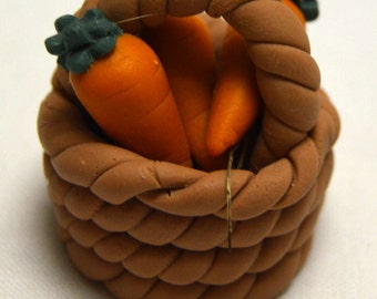 "Vintage Miniature Basket of  Carrots Polymer Clay Figurine 1.25"" Tall Adorable! Fairy Garden Dollhouse Shadow Box"