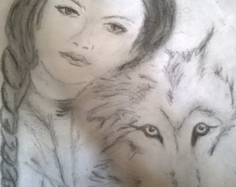 drawing of friendship girl and Wolf