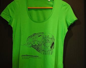 T-shirt woman green organic 100% cotton, round neck