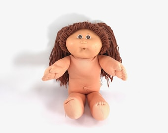 Vintage 1986 Cabbage Patch Kid girl - brown eyes, brunette hair, pigtails, dimples, paci mouth, pacifier, Coleco, 1980s toys, 80s dolls