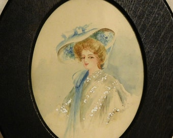Vintage watercolor of Victorian lady
