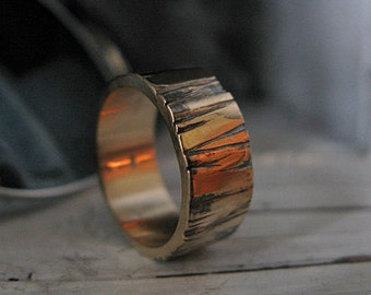 Mens Wedding Band 14k Gold Bark Mens Wedding Ring Rustic Mens Wedding Rings Unique Mens Wedding Band Viking Wedding Ring Mens Wedding Bands