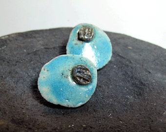 Big Earrings Turquoise Ceramic Raku