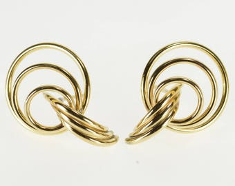 14K Tiered Curved Twist Ring Post Back Earrings Yellow Gold