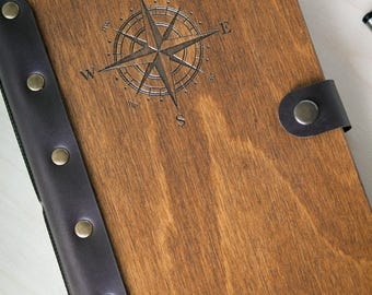 Travel Journal, Wooden Notebook, Compass, Leather Sketchbook, Notebook, Leather Journal, Personalized Journal, Blank Notebook