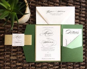 Green and Gold Glitter Pocket Wedding Invitation, Glitter Pocket Wedding Invitation, Green Invitation, Fall Invitations