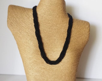 Black necklace, seed bead necklace,braid necklace,bridesmaid gifts,wedding jewelry,bridesmaid necklace,beaded necklace,boho chic,for her