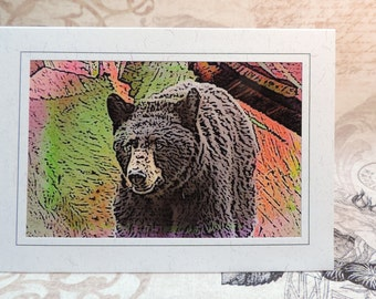 Bear Greeting Card, Abstract Bear Art, Black Bear Card