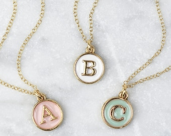 SALE Pastel Initial Necklace • Enamel Initial Necklace • Initial Disc Necklace • Gold Initial Necklace • Letter Charm • Letter Necklace