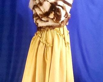 Maxi skirt. Boho skirt. Pleated Skirt.Saffron.Organic clothing.Многослойная юбка в пол.
