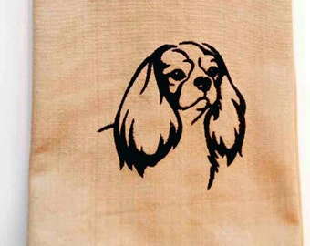 Cavalier King Charles Spaniel Tea Towel | Embroidered Kitchen Towel | Personalized Kitchen | Dog Lover Gift | Embroidered Towel | Hand Towel