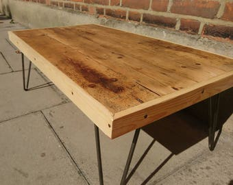 Upcycled coffee table made from old wooden floorboards