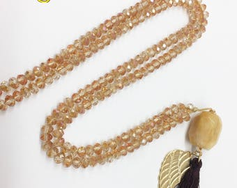 6mm Crystal necklace with tassel and Samak