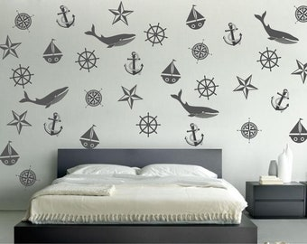 Nautical wall decals, sea life wall stickers - decal set of 34 invididual nautical themed items