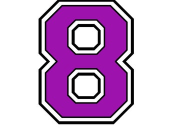 Iron on transfer purple number# 8 for t shirt transfer instant download