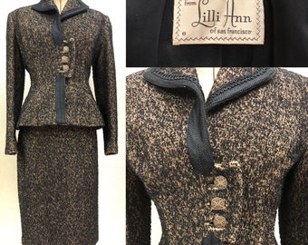 Vintage 1940's LILLI ANN Brown/Black Boucle Suit Set Blazer Skirt Wool Italy S/M
