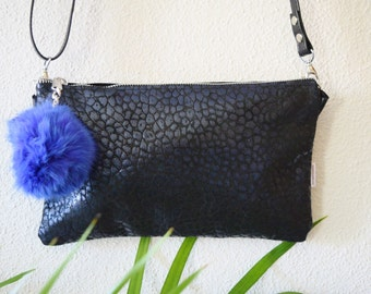 Leather handbag,blue leather bag,tassel clutch,tassel handbag,leather bags,shinny clutch,black tassel bag,crossbody bag,leather purse bag