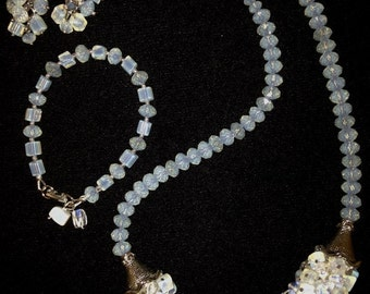 Moonstone Cluster Bead Necklace Set
