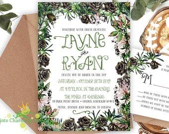 Rustic Branches Pinecone • Wedding Invitation • Custom Design & DIY Print Yourself