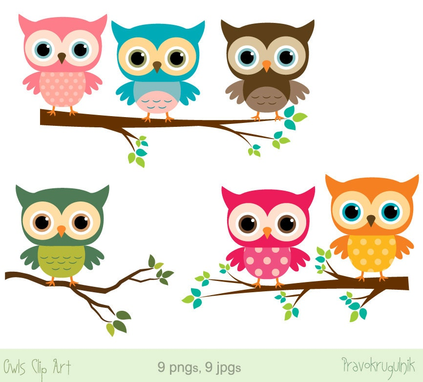baby owl clip art girl owl clipart rainbow owls on branches cute rh etsystudio com owl clipart cute owl clip art black and white