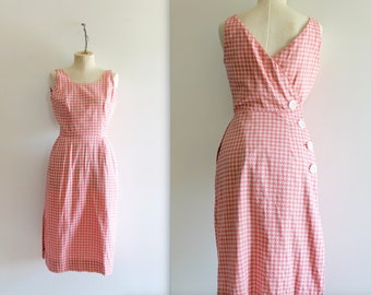 Vintage 1950's Pink Houndstooth Backless Wiggle Dress