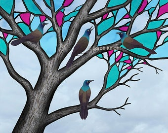 grackles in the stained glass tree - signed print 8X10 inches by Sarah Knight, flock of birds tree branches bark brown black aqua blue pink