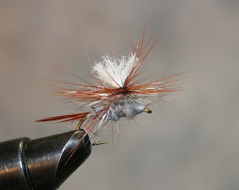 Fly Fishing - Hand-crafted Michigan Fishing Flies - Parachute Adams Variant - Rabbit Hair dub with Brown and Grizzly Hackle - Number 10 Hook