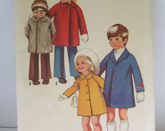 Vintage 1972 Sewing paper pattern childrens coat pattern size 5 uncut   Simplicity 9903