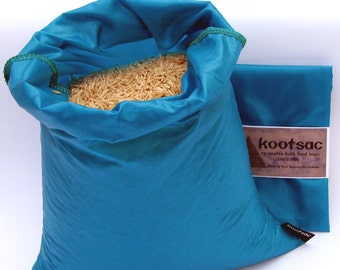 Reusable food bag, reusable produce bag, rice bag, grain bag, ripstop nylon bag , lightweight, washable, turquoise