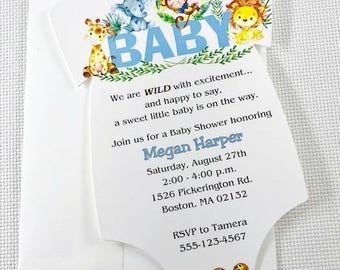Baby Shower Invitation / ONESIE /Jungle / Baby Boy / Set of 10 / All Occasion Favors