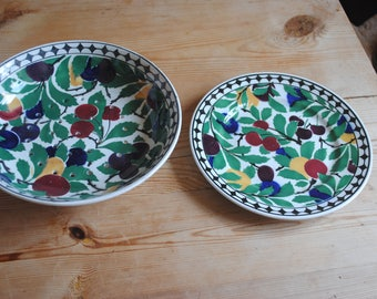 Villeroy and Boch Wallerfangan  Salad Drainer Bowl and Plate Rare Vintage Made in Saar-Basin Germany