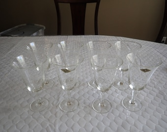 """8 (Eight) Radio Brand Fine Glasses Hand Crafted Japan Water Goblets 8 1/2"""" Wheat Spray Blown Glass"""