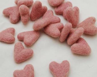 3cm 100% Wool Felt Hearts - 10 Count - Pastel Pink