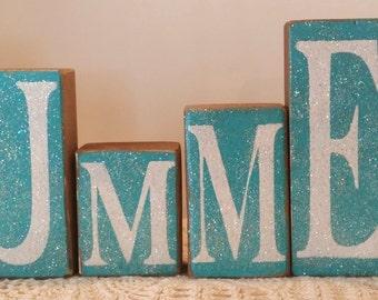 Summer Blocks Blue Wood Glitter Blocks Beach Home Decor Set of Six Wood Shelf Sitters