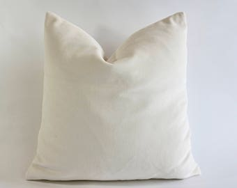 Off White Cotton Velvet Pillow Cover - Decorative Accent Throw Pillows -Invisible Zipper Closure -Knife Or Piping Edge -16x16 to 26x26