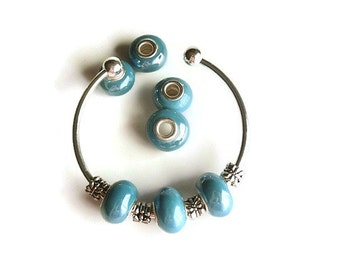 5 Beads,Sky  Blue Handmade Porcelain  European Style Beads, Jewelry making Supply, rondelle for European style bracelets