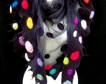Nuno Felted Scarf, Triangle Black Scarf, Multicolored Dots, Silk Wool Felted Scarves CUSTOM ORDER