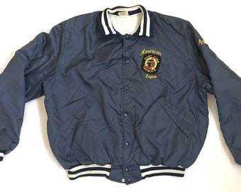Vintage American Legion Satin Jacket - 70s Windbreaker Insulated Stadium Jacket XL