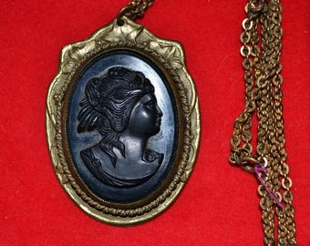 "Antique Victorian Black Mourning Cameo Brass Setting with 24"" Chain"