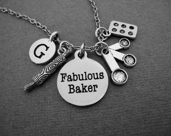 Fabulous Baker Necklace, Baking Bangle Bracelet, Gift for Pastry Chef, Bake Shop Bakery Keychain, Culinary School Student Gift, Rolling Pin