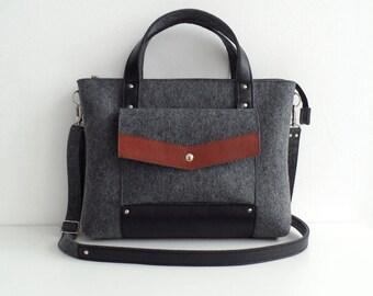 Dark Gray Black Brown Wool Felt Genuine Leather Handbag Bag