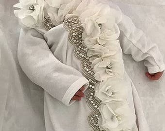 Infant Baby Layette White Cotton Baby Gown with Off White Chiffon Flowers and Rhinestones