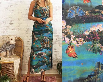 Vintage 90s DREAM SCENE Acid Trip Photographic Dress    Psychedelic Travel Butterfly Maxi Summer Dress    Size Small