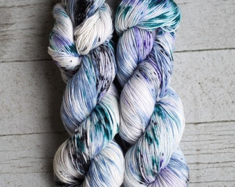 Cement Ship Navy Blue Green Violet Black Speckled Hand Dyed Yarn // Superwash Merino and Nylon Sock Fingering Weight Yarn // Cape May Fiber