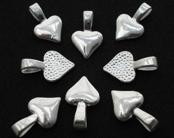 40 Piece Shiny Heart Shaped Glue On Pendant Bails Pad Silver Plate
