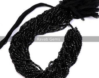 1 Strand 13 Inch Black Spinel Faceted Beads AAA+ Quality Natural Black Spinel Faceted Rondelle 3mm to 4mm Black Spinel Micro Faceted Beads