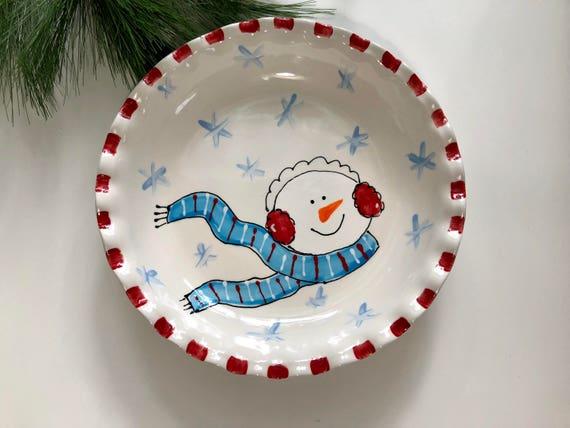 Hand painted, ceramic, Snowman, Pie Plate, snowman pie plate,Christmas pie plate, holiday pie plate, woodland snowman plate, snowman pie dis